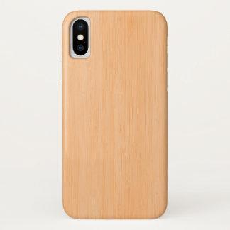Capa Para iPhone X Olhar de madeira de bambu da grão do pêssego
