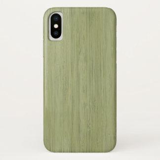 Capa Para iPhone X Olhar de madeira de bambu da grão do verde de