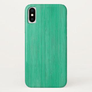 Capa Para iPhone X Olhar de madeira de bambu da grão do verde de mar