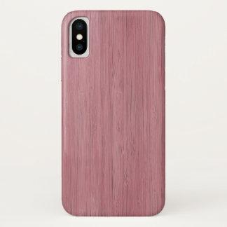 Capa Para iPhone X Olhar de madeira de bambu roxo malva da grão