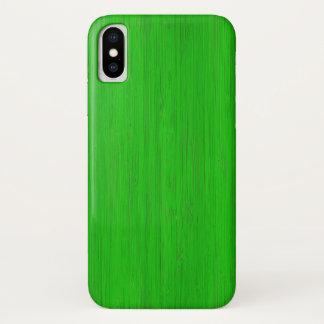 Capa Para iPhone X Olhar de madeira de bambu verde-claro da grão