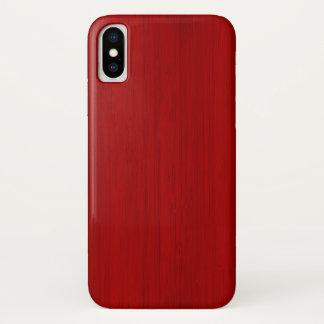 Capa Para iPhone X Olhar de madeira de bambu vermelho marrom da grão