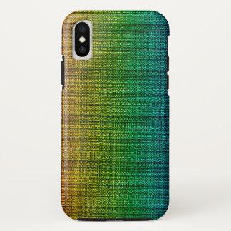 Capa Para iPhone X Olhar do tecido da mistura de lã do arco-íris