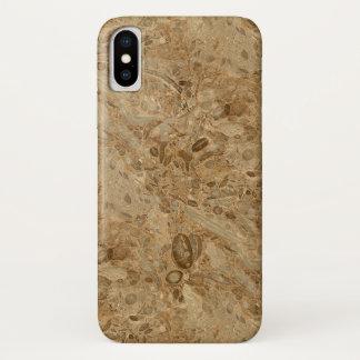 Capa Para iPhone X Olhar fóssil de mármore de Brown