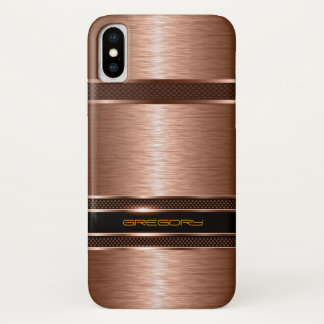 Capa Para iPhone X Olhar metálico do falso de cobre simples de Brown