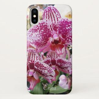 Capa Para iPhone X Orquídeas Splotched cor-de-rosa e brancas
