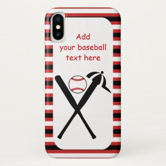 Capa Para iPhone X Os bastões e o boné cruzados basebol enegrecem,