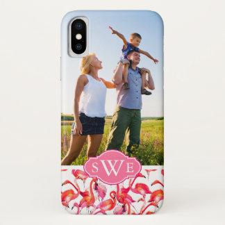 Capa Para iPhone X Os flamingos da aguarela | adicionam seus foto &