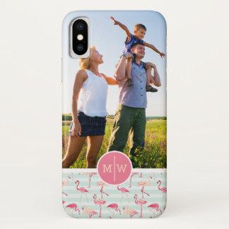 Capa Para iPhone X Os flamingos em listras | adicionam seus foto &