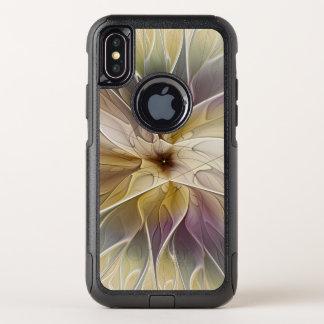 Capa Para iPhone X OtterBox Commuter Arte floral do Fractal do abstrato da beringela do