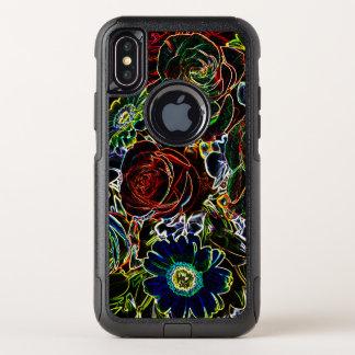Capa Para iPhone X OtterBox Commuter Conjunto de flor afiado de incandescência colorido