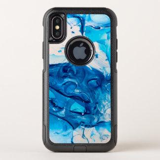 Capa Para iPhone X OtterBox Commuter Estilo de mármore azul moderno do falso