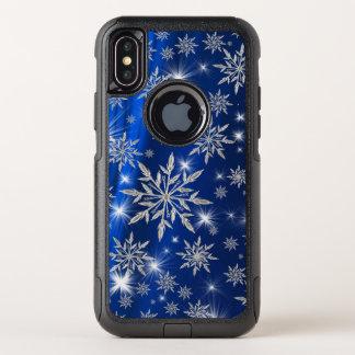 Capa Para iPhone X OtterBox Commuter Estrelas azuis do Natal com o cristal de gelo
