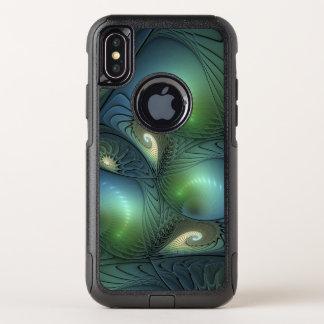 Capa Para iPhone X OtterBox Commuter Fractal verde bege de turquesa das espirais legal
