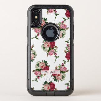 Capa Para iPhone X OtterBox Commuter Fundo Floral-Branco da casa de campo feminino