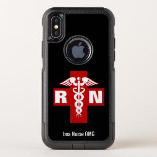 Capa Para iPhone X OtterBox Commuter Iniciais e nome do Caduceus da enfermeira