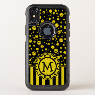 Capa Para iPhone X OtterBox Commuter Monograma das bolinhas do smiley