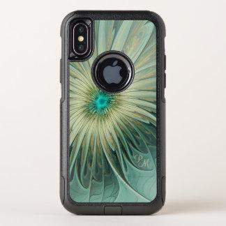 Capa Para iPhone X OtterBox Commuter Monograma do trigo de turquesa da flor da fantasia