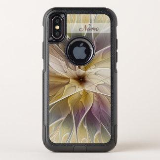 Capa Para iPhone X OtterBox Commuter Nome floral da arte do Fractal da beringela do