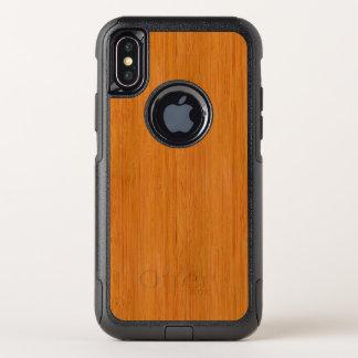 Capa Para iPhone X OtterBox Commuter Olhar de madeira de bambu ambarino da grão