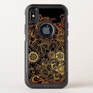 Capa Para iPhone X OtterBox Commuter ouro floral G523 do Doodle do exemplo da viagem ao
