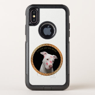 Capa Para iPhone X OtterBox Commuter Pitbull branco com beijos do vermelho por todo o