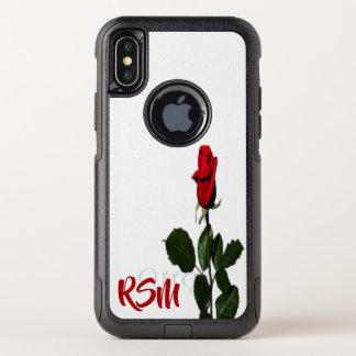 Capa Para iPhone X OtterBox Commuter Rosa vermelha monogrammed