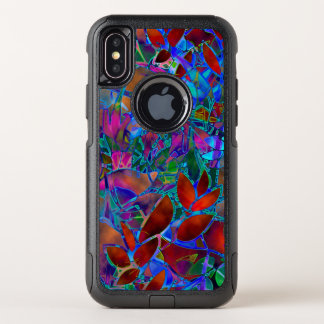 Capa Para iPhone X OtterBox Commuter vitral abstrato floral do caso do iPhone X
