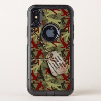 Capa Para iPhone X OtterBox Commuter Zombi Camo com dog tags