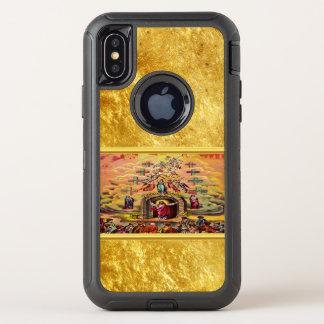 Capa Para iPhone X OtterBox Defender A porta do céu com uma textura e um Jesus da folha