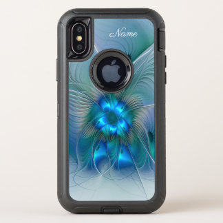 Capa Para iPhone X OtterBox Defender Aclamações de pé, nome azul da arte do Fractal de