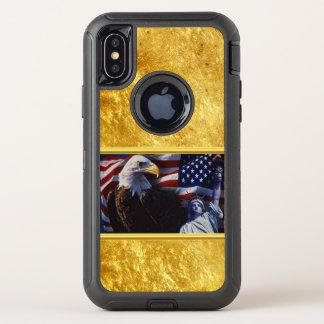 Capa Para iPhone X OtterBox Defender Águia americana uma estátua da liberdade uma