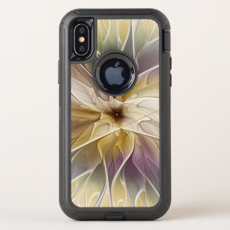 Capa Para iPhone X OtterBox Defender Arte floral do Fractal do abstrato da beringela do