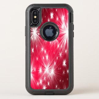 Capa Para iPhone X OtterBox Defender Estrelas vermelhas do Natal com flocos de neve e