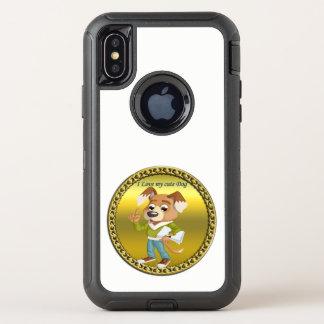 Capa Para iPhone X OtterBox Defender Estudante do cão dos desenhos animados que obtem