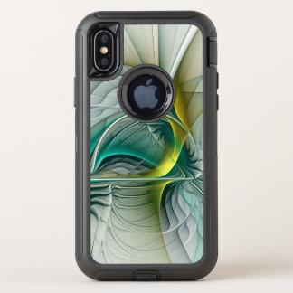 Capa Para iPhone X OtterBox Defender Evolução do Fractal, arte abstracta dourada de
