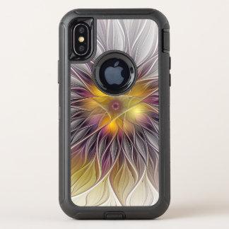 Capa Para iPhone X OtterBox Defender Flor colorida luminosa, Fractal moderno abstrato