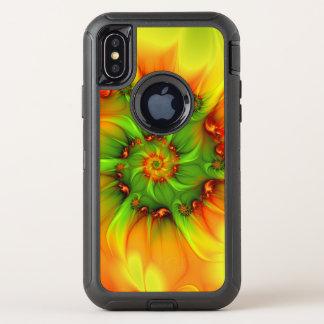 Capa Para iPhone X OtterBox Defender Fractal colorido do abstrato quente da laranja do