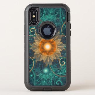 Capa Para iPhone X OtterBox Defender Fractals bonitos de Lotus da laranja e da cerceta