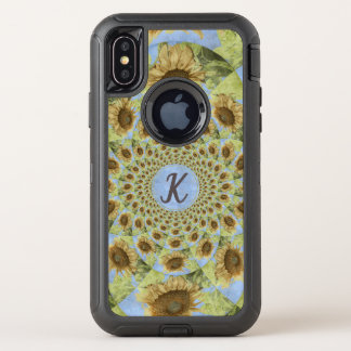 Capa Para iPhone X OtterBox Defender Girassol amarelo Textured caleidoscópio do