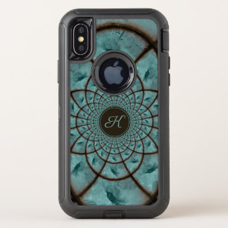 Capa Para iPhone X OtterBox Defender Girassol Textured caleidoscópio de Cyanotype do