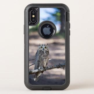 Capa Para iPhone X OtterBox Defender Grande foto da coruja Horned