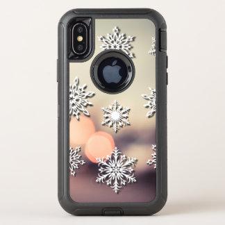 Capa Para iPhone X OtterBox Defender Luzes e floco de neve de Natal