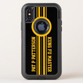 Capa Para iPhone X OtterBox Defender Modelo amarelo desportivo do nome da listra