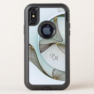 Capa Para iPhone X OtterBox Defender Monograma abstrato do ouro de Brown de turquesa da