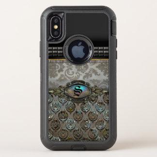 Capa Para iPhone X OtterBox Defender Monograma bonito do damasco da proteção de