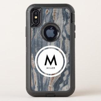 Capa Para iPhone X OtterBox Defender Monograma da rocha da pedra calcária de Boudinaged