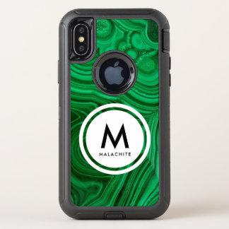 Capa Para iPhone X OtterBox Defender Monograma de mineral da malaquite