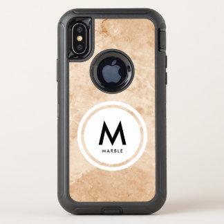 Capa Para iPhone X OtterBox Defender Monograma de pedra de mármore elegante