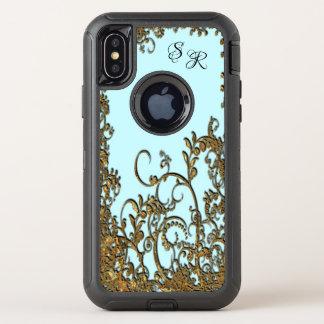 Capa Para iPhone X OtterBox Defender Monograma floral elegante de Chambroley X